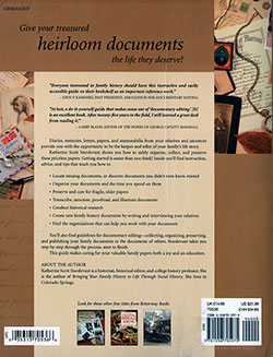 Back Cover - Organizing & Preserving Your Heirloom Documents