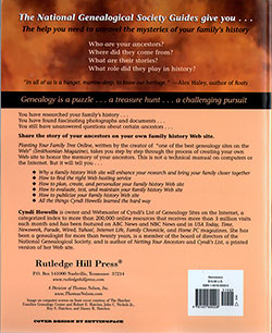 Back Cover - Planting Your Family Tree Online: How To Create Your Own Family History Web Site