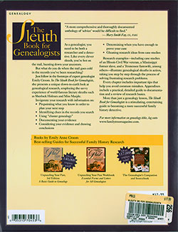 Back Cover - The Sleuth Book for Genealogists: Strategies For More Successful Family History Research