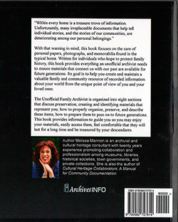 Back Cover - The Unofficial Family Archivist: A Guide to Creating and Maintaining Family Papers, Photographs, and Memorabilia