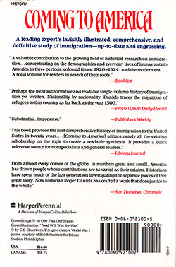 Back Cover - Coming to America: A History of Immigration and Ethnicity in American Life