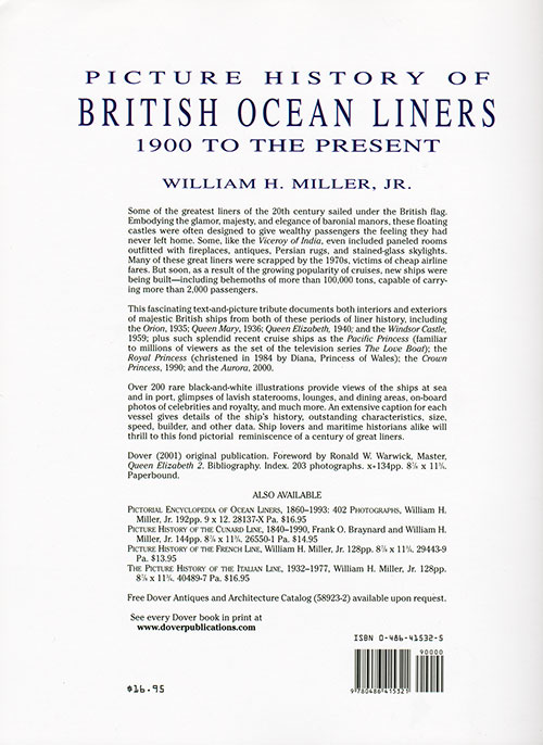 Back Cover, Picture History of British Ocean Liners : 1900 to the Present