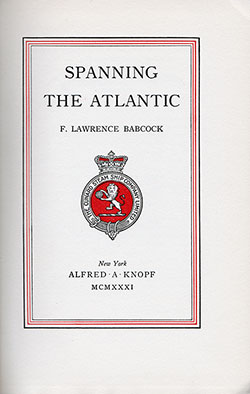 Title Page, Spanning the Atlantic (1931) by F. Lawrence Babcock