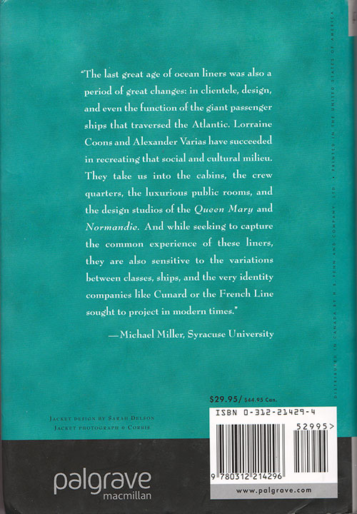 Back Cover, Tourist Third Class: Steamship Travel in the Interwar Years (2003)