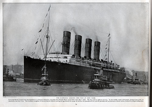 Plate 70 - Lusitania Leaving New York