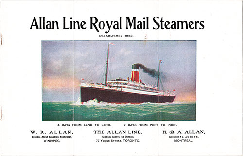 1907 Second Cabin Brochure from the Allan Line Royal Mail Steamers
