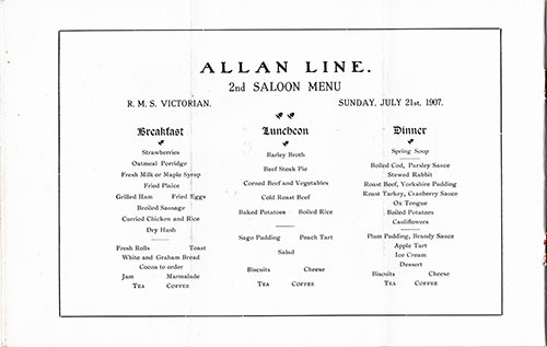 Second Cabin Menu for July 21, 1907 aboard the Allan Line Victorian