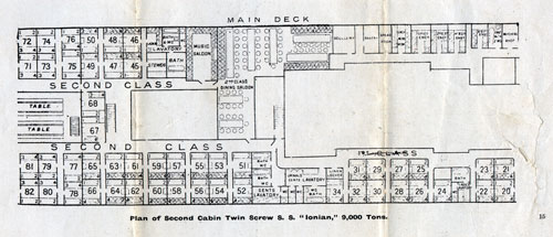 Plan of Second Cabin, Twin Screw S.S. Ionian, 9,000 Tons