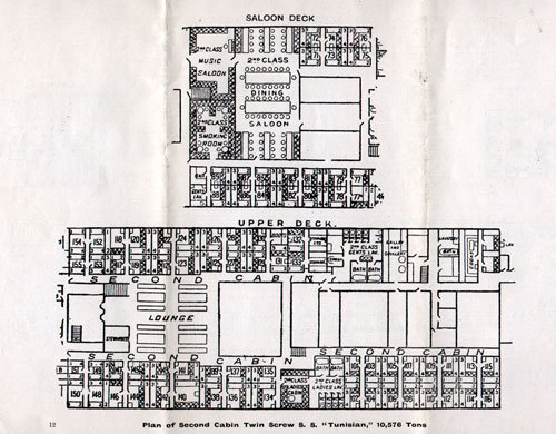 Plan of Second Cabin, Twin Screw S.S. Tunisian, 10,576 Tons