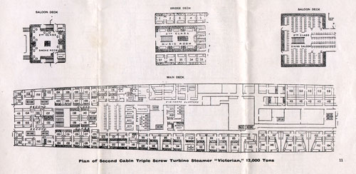 Plan of Second Cabin, Triple Screw Turbine Steamer Victorian, 12,000 Tons