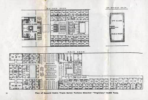 Plan of Second Cabin, Triple Screw Turbine Steamer Virginian, 12,000 Tons.