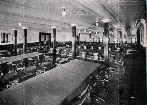 Second Saloon Dining Room on the S.S. Corsican - 1908
