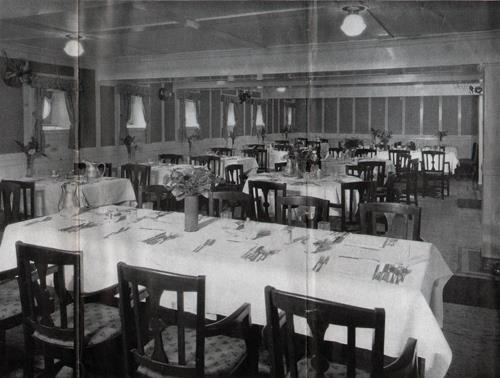 Dining Room on an American Merchant Lines Steamer
