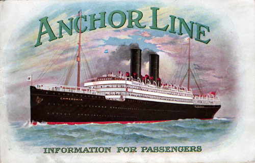 Front Cover - Information for Anchor Line Passengers - 1912