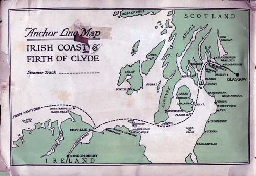 Anchor Line Map:: Irish Coast & Firth of Clyde with Steamship Track Route Shown