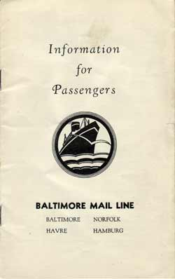 Information for Passengers, Baltimore Mail Line Brochure - 1932