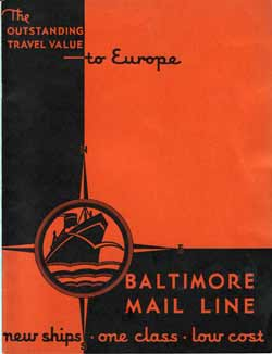 1930s Brochure: Outstanding Travel Value to Europe - Baltimore Mail Line - New Ships, One Class, Low Cost