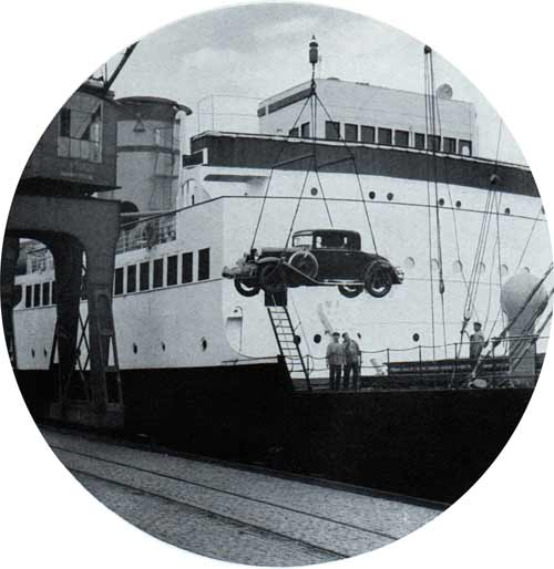 Automobile being loaded onto a Steamship