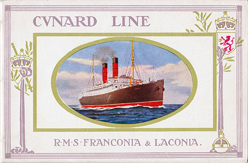 Front Cover, RMS Franconia and Laconia (1912) Cunard Line Vintage Brochure