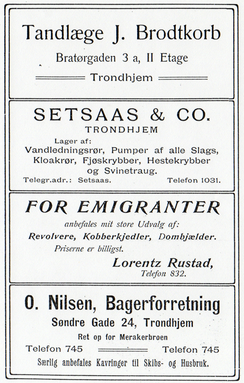 Banner Sized Advertisements for the Norwegian Emigrant