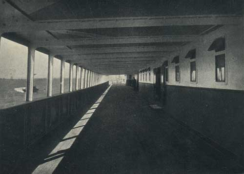 "ONE OF THE SALOON PROMENADE DECKS, STEAMSHIP ""NEW ENGLAND."""