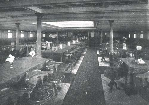 "FIRST CABIN DINING SALOON (LOOKING AFT), STEAMSHIP ""NEW ENGLAND """