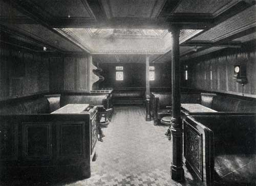 "FIRST CABIN SMOKING ROOM, STEAMSHIP "" NEW ENGLAND."""