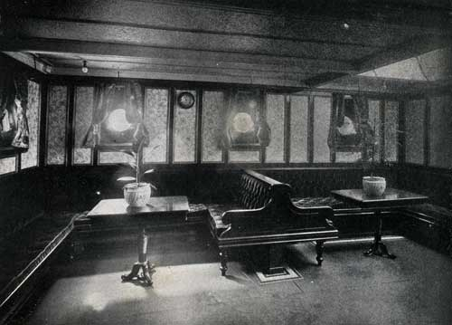 "SECOND CABIN LADIES' ROOM, STEAMSHIP "" NEW ENGLAND."""