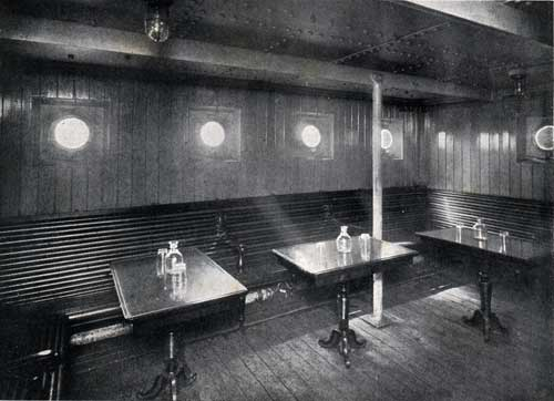 "THIRD CLASS SMOKING ROOM, STEAMSHIP ""NEW ENGLAND."""