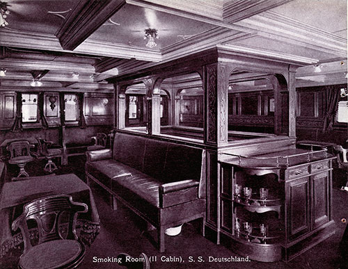 Smoking Room, Second Cabin - S.S. Deutschland