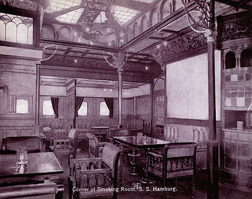 Corner of Smoking Room - S.S. Hamburg