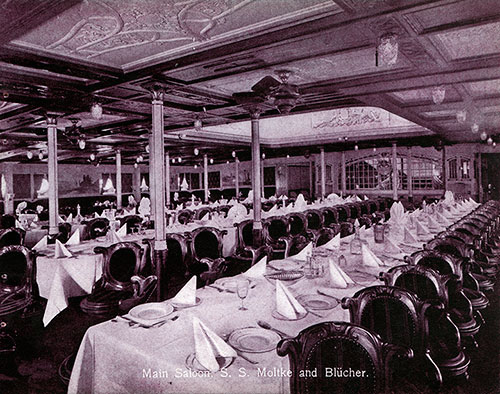 Main Saloon - S.S. Moltke and Blücher