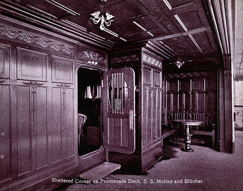 Sheltered Corner on Promenade Deck - S.S. Molke and Blücher