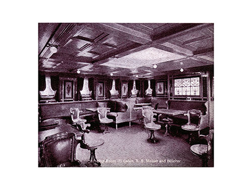 Smoking Room - Second Cabin of the S.S. Moltke and Blücher