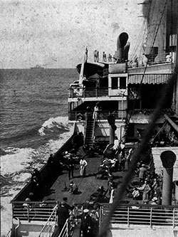 View of Passenger on the Deck of a Steamship