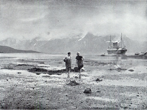 Photo 109: The SS Auguste Victoria on the Norwegian coast - two Norwegian peasant girls in foreground.