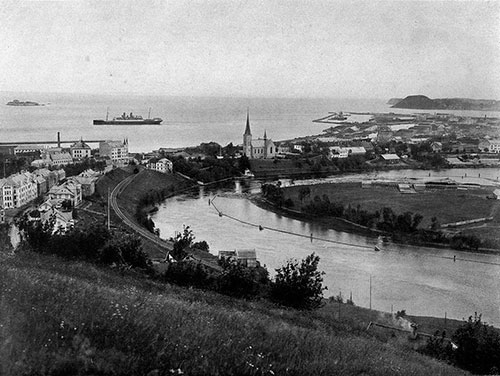 Photo 049: View of Harbor at Trondhjem with the S.S. Blücher of the Hamburg American Line visible in the background