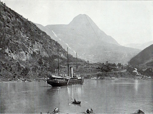 Photo 097: View of a coastal steamer at the village of Merok in Geiranger Fjord, Norway.