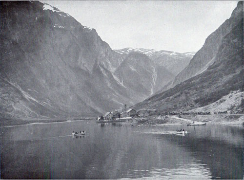 Photo 108: A scene of the fjord and village of Gudvangen in inner Nærøyfjorden, Arland municipality, Norway