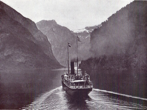 Photo 117: View of a Norwegian Coastal Steamer in the Nærøyfjorden near Gudvangen, Norway.