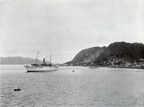Photo 089: Another view of the S.S. Meteor looking towards the shoreline at Aalesund.