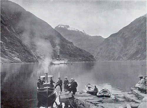 Photo 094: Passengers boarding the tender with the S.S. Meteor at the village of Merok, Geiranger Fjord, Norway
