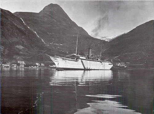 Photo 103: The S.S. Meteor anchored in the Fjord at the Village of Merok.