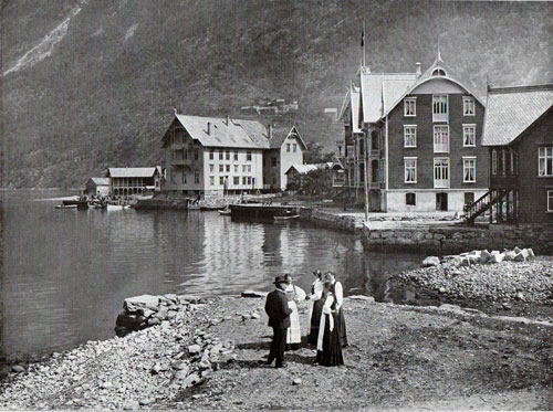 Photo 028: Group of Hotels at Odda. Women in foreground are wearing the tradition Norwegian costume or Bunad.