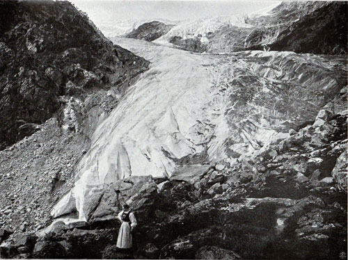 Photo 037: Buarbrae Glacier - View of Woman in Traditional Norwegian Costume (Bunad) in Foreground.