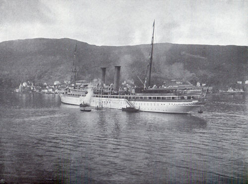 Photo 129: The SS Prinzessin Victoria Luise At Bergen with tenders along side.