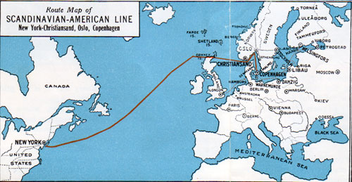 Route Map Denmark to New York