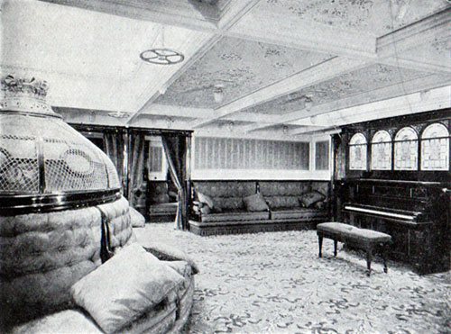 First Cabin Music Room, SS. Oscar II, Hellig Olav and United States