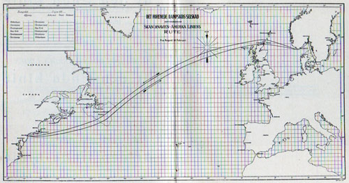 Track Chart of Routes from Scandinavia to New York