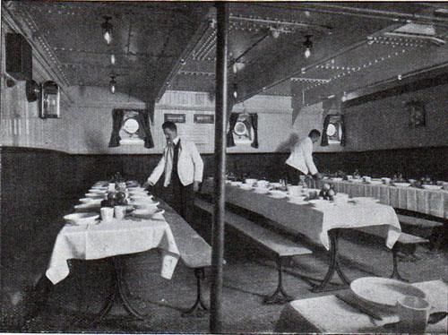Setting up for Dinner in the Third Class circa 1912